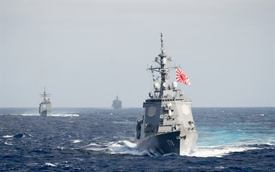 JS Ashigara, DDG-178, 4k, Japanese warship, destroyer, Atago class, JMSDF, Japan Maritime Self-Defense Force, Navy of Japan, Imperial Japanese flag