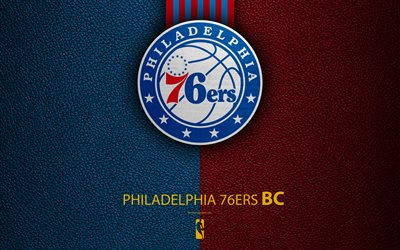 Philadelphia 76ers, 4K, logo, basketball club, NBA, basketball, emblem, leather texture, National Basketball Association, Philadelphia, Pennsylvania, USA, Atlantic Division, Eastern Conference