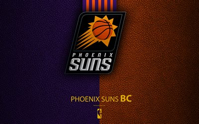 Phoenix Suns, 4K, logo, basketball club, NBA, basketball, emblem, leather texture, National Basketball Association, Phoenix, Arizona, USA, Pacific Division, Western Conference