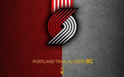 Portland Trail Blazers, 4K, logo, basketball club, NBA, basketball, emblem, leather texture, National Basketball Association, Portland, Oregon, USA, Northwest Division, Western Conference