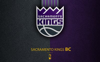 Sacramento Kings, 4K, logo, basketball club, NBA, basketball, emblem, leather texture, National Basketball Association, Sacramento, California, USA, Pacific Division, Western Conference