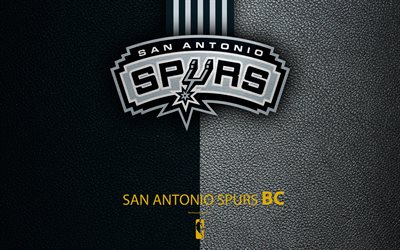 San Antonio Spurs, 4K, logo, basketball club, NBA, basketball, emblem, leather texture, National Basketball Association, San Antonio, Texas, Southwest Division, Western Conference