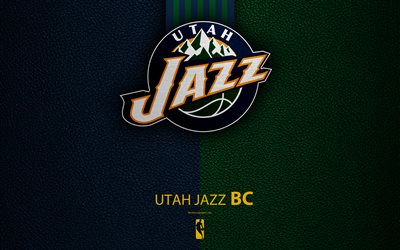Utah Jazz, 4K, logo, basketball club, NBA, basketball, emblem, leather texture, National Basketball Association, Salt Lake City, Utah, USA, Northwest Division, Western Conference
