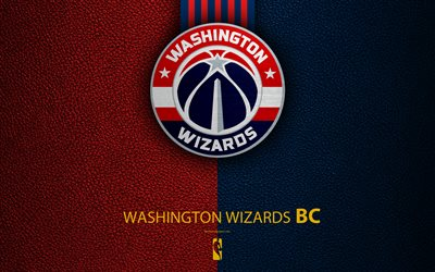 Washington Wizards, 4k, logo, basketball club, NBA, basketball, emblem, leather texture, National Basketball Association, Washington, USA, Southeast Division, Eastern Conference