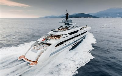 luxury white yacht, sea, coast, waves, yachts, Galactica Supernova