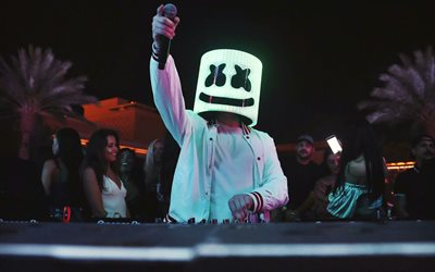 DJ Marshmello, DJ, night club, superstars, party, Marshmello