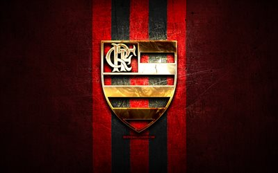 Flamengo FC, golden logo, Serie A, red metal background, football, CR Flamengo, brazilian football club, Flamengo FC logo, soccer, Brazil
