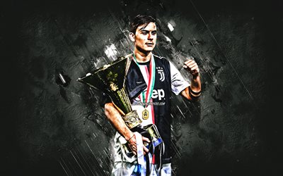 Paulo Dybala, Juventus FC, Argentinean footballer, Dybala with a Gold Cup, Italy, football, gray creative background