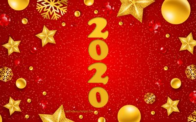 Happy New Year 2020, Red christmas background, 2020 Christmas background, 2020 concepts, golden christmas decoration, Christmas