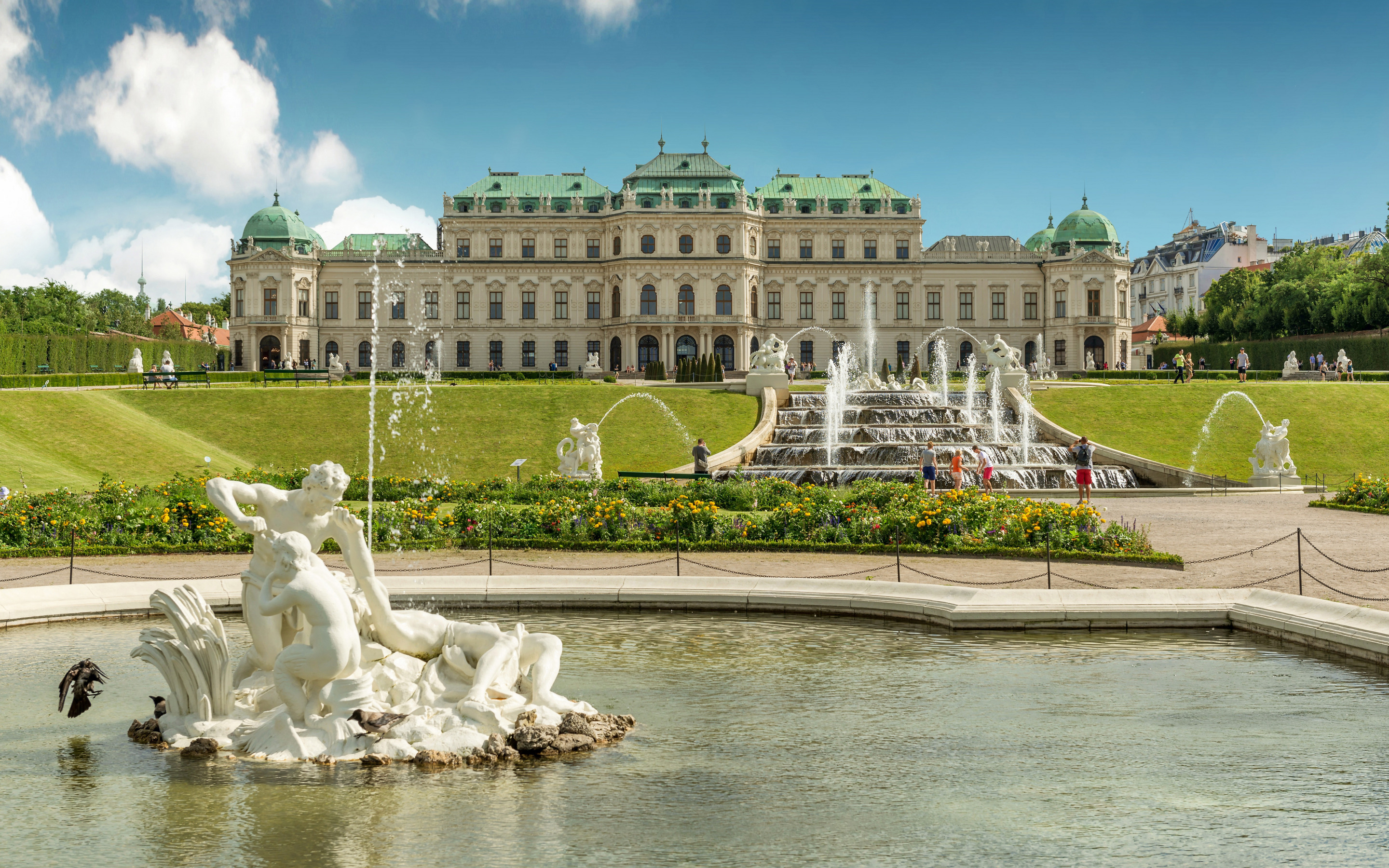 Belvedere Palace, fountain, beautiful palace, landmark, summer, Vienna, Austria