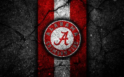 alabama crimson tide, 4k, american-football-team, ncaa, rot, weiß, stein, usa, asphalt textur, american football, alabama crimson tide logo