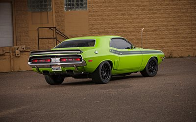 Dodge Challenger, 1970, rear view, retro cars, tuning Challenger, green Challenger, american cars, Challenger Coupe, Dodge