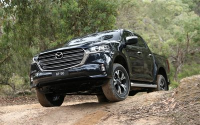 Mazda BT-50, 2020, front view, exterior, black pickup truck, new black BT-50, BT-50 Double Cab, Mazda