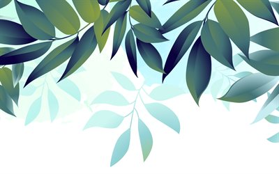 retro eco background, blue background with green leaves, eco background, green leaves background, leaves texture