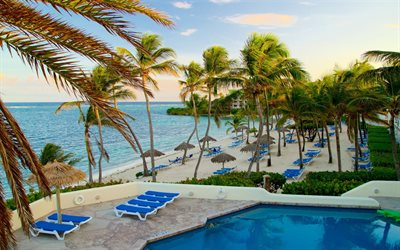 Caribbean, resort, evening, palm trees, tropical islands, ocean, Antigua and Barbuda