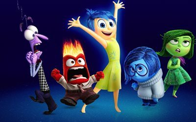 Inside Out, 2015, all characters, joy, sadness, disgust, anger, fear