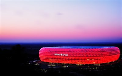 Allianz Arena, 4k, stade de football, Munich, Allemagne
