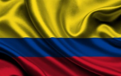 Colombian flag, 4k, silk, flag of Columbia, satin, flags, Columbia flag