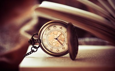 old clock, book, time, retro, pocket watch