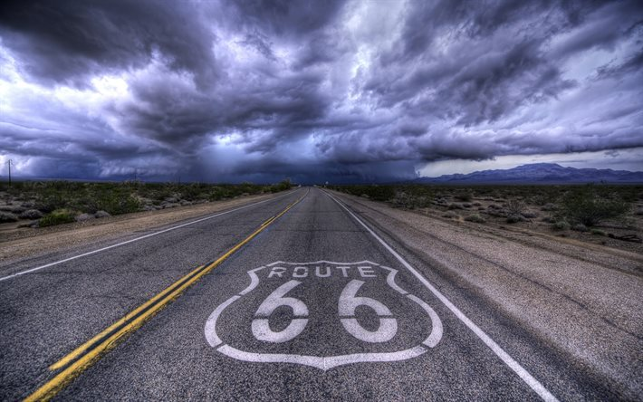 Download Wallpapers Route 66 Clouds Kansas Highway Hdr