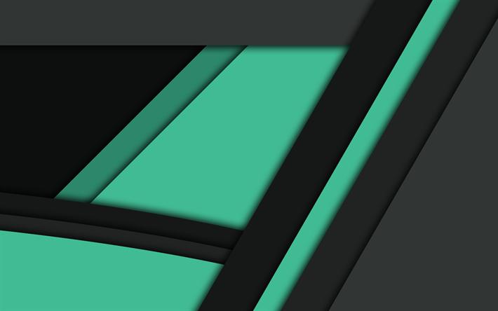 Scarica Sfondi Il Design Dei Materiali Verde E Nero Linee Scuro