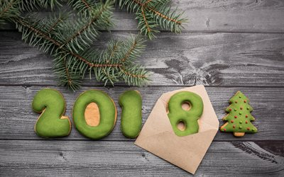 New Year, 2018 concepts, green biscuits, baked goods, Happy New Year, xmas