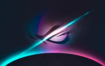 ROG, 4k, Asus, logo, neon lights, Republic of Gamers
