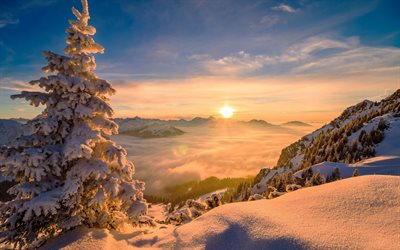 winter landscape, mountains, sunset, clouds from above, mountain landscape, snow, winter