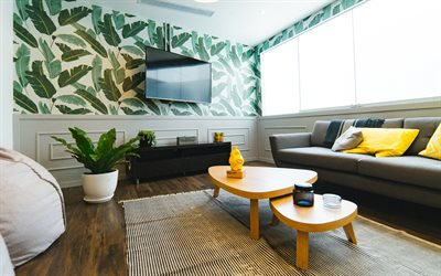 stylish interior, living room, retro style, green leaves on the walls, modern interior design