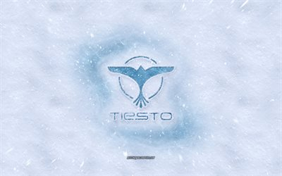 Tiesto logo, winter concepts, Dutch DJ, Tijs Michiel Verwest, snow texture, snow background, Tiesto emblem, winter art, Tiesto