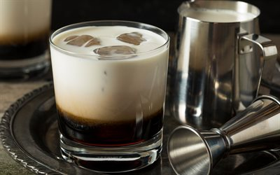White Russian Cocktail, 4k, macro, cocktails, glass with drink, White Russian, Glass with White Russian