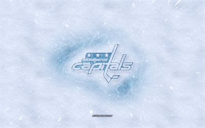 Washington Capitals logo, American hockey club, winter concepts, NHL, Washington Capitals ice logo, snow texture, Washington, USA, snow background, Washington Capitals, hockey