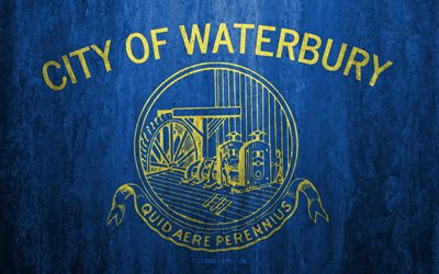 Flag of Waterbury, Connecticut, 4k, stone background, American city, grunge flag, Waterbury, USA, Waterbury flag, grunge art, stone texture, flags of american cities