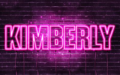 Kimberly, 4k, wallpapers with names, female names, Kimberly name, purple neon lights, horizontal text, picture with Kimberly name