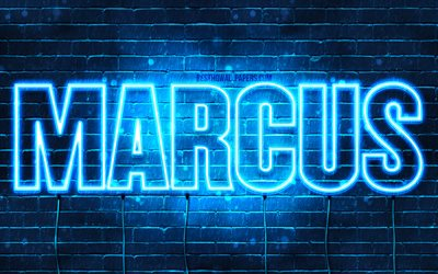 Marcus, 4k, wallpapers with names, horizontal text, Marcus name, blue neon lights, picture with Marcus name