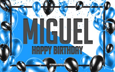 Happy Birthday Miguel, Birthday Balloons Background, Miguel, wallpapers with names, Miguel Happy Birthday, Blue Balloons Birthday Background, greeting card, Miguel Birthday