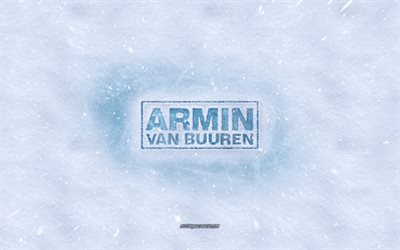 Armin van Buuren logo, winter concepts, snow texture, snow background, Armin van Buuren emblem, winter art, Armin van Buuren