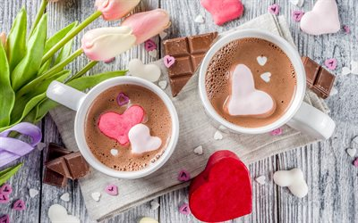 coffee with marshmallows, 4k, two cups of coffee, cups with coffee, love concepts, coffee