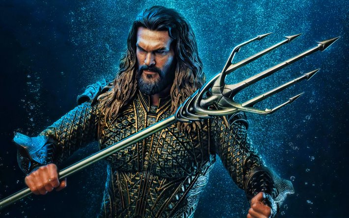 4k, Aquaman, artwork, superheroes, 3D art, fan art, Aquaman 4K