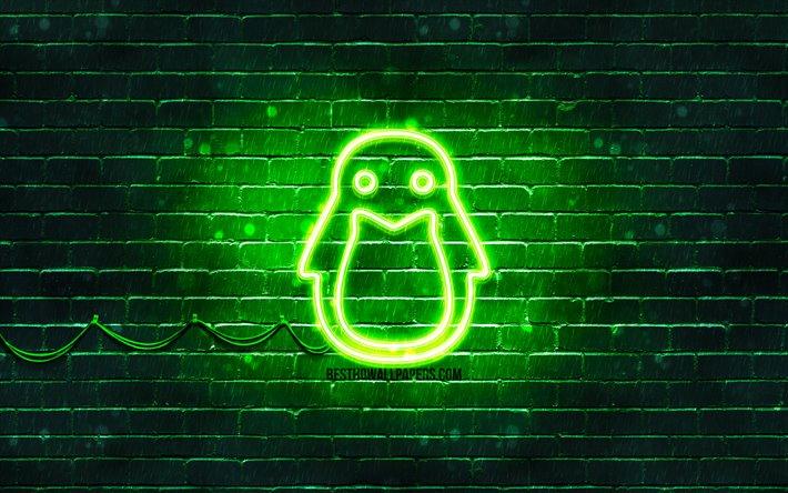 Indir duvar kağıdı Linux yeşil logo, 4k, yeşil brickwall ...