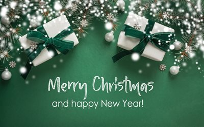Merry Christmas, Green christmas background, gifts boxes, green background, Happy New Year, White christmas balls