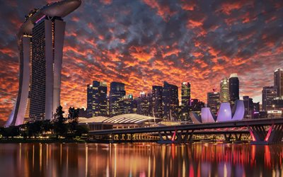 Singapore, 4k, sunset, Marina Bay Sands, skyscrapers, modern buildings, Asia, Singapore 4K