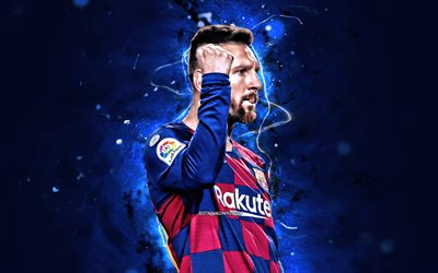 Lionel Messi, goal, Barcelona FC, argentinian footballers, close-up, FCB, football stars, La Liga, Messi, 2019, Leo Messi, LaLiga, Spain, neon lights, Barca, soccer