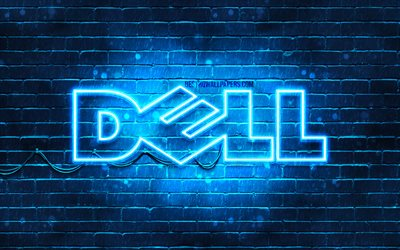 Dell blue logo, 4k, blue brickwall, Dell logo, brands, Dell neon logo, Dell
