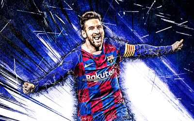 Lionel Messi, grunge art, Barcelona FC, argentinian footballers, FCB, football stars, blue abstract rays, La Liga, Messi, Leo Messi, LaLiga, Spain, Barca, soccer