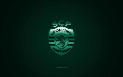 Sporting, Portuguese football club, Primeira Liga, green logo, green carbon fiber background, football, Lisbon, Portugal, Sporting logo