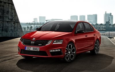 Skoda Octavia, 2017, sedan, new Octavia, red Octavia, Czech cars