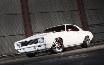 Chevrolet Camaro, 1969 cars, tuning, muscle cars, white Camaro, supercars, Chevrolet