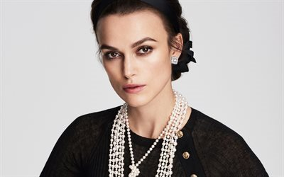 Keira Knightley, portrait, make-up, black dress, British actress