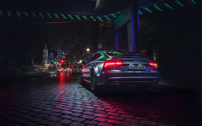 Download Wallpapers 4k Audi A7 Sportback Tuning Night Street
